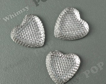 Kawaii Clear Ice Dazzling Heart Resin Flatback Deco Cabochons, Heart Cabochons, Sparkle Hearts, 24mm (R8-264)
