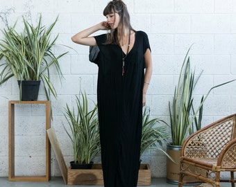 SALE  50 Off Black caftan dress, Cotton caftan, maxi loose dress, caftan dress, oversize dress, kaftan.