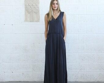 Pleated  Maxi Dress, Casual Maxi Dress, Blue .