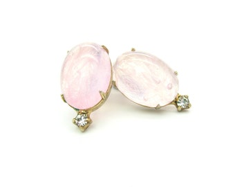 Art Glass Earrings. Oval Pink Swirl Cabochons, Rhinestone Accents. Gold Tone Metal.  Signed Denbé. Vintage 1950s Jewelry.