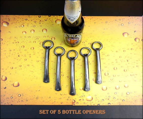 5 GROOMSMEN GIFT SET Bottle Openers - Personalized Option Available - Hand Forged by Naz - Gifts for Groomsmen Ushers  Engagement  Gift  Men