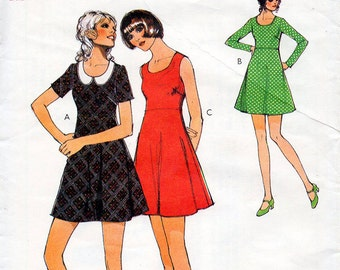 1970s Mini Flared Dress Pattern Style 3593 Vintage Sewing Pattern Scoop Neck Dress with Detachable Collar Bust 33 Petites