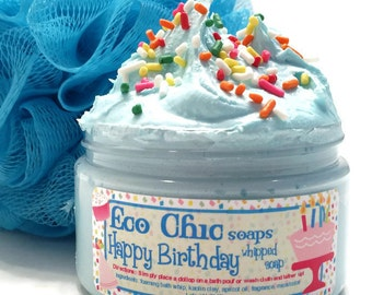NEW - Happy Birthday Whipped Soap - Birthday Cake in a Jar  - PERSONALIZED LABEL - Body Wash - Happy Birthday Gift Soap