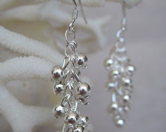 Cascading Silver Bobbles and More Bobbles Earrings