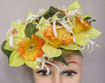Bold Yellow and Orange Jumbo Daffodil Fascinator/Hatinator
