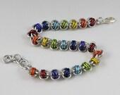 Rainbow Bracelet, Barrel Weave Chainmail Bracelet, Gay Pride Chainmaille Bracelet, Gay Pride Jewelry, Chain Mail Jewelry, LGBT