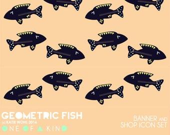 Geometric Fish -  banner & shop icon set