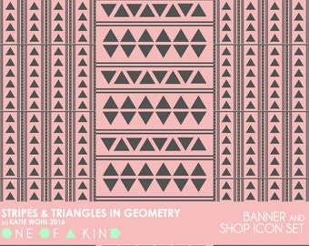 Stripes and Triangles in Geometry - banner & shop icon set