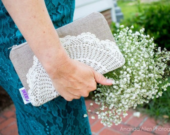 Bridesmaid Gift - Linen Burlap Clutch Bag - Bridesmaid Clutch Set