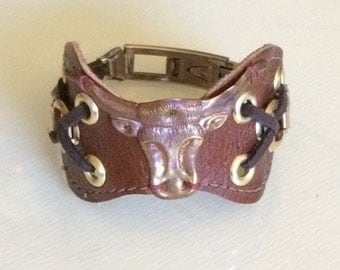 Leather Bull Bracelet Cuff, Vintage Assemblage
