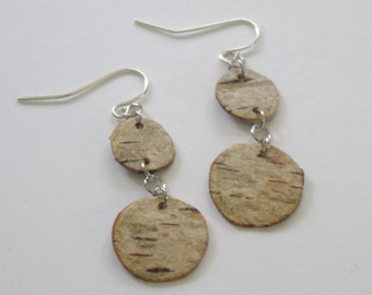 Birch Bark Circle Statement OOAK Earrings
