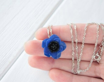 Dark Blue Sea Flower Anemone Pendant Medallion Small Handmade Women Birthday Wedding Bridal Christmas Gifts Jewelry Accessory