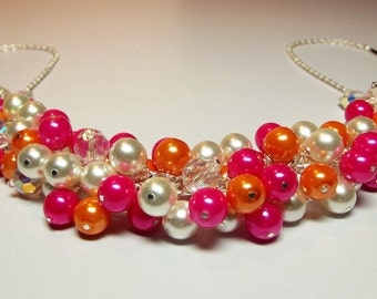Hot Pink Orange White Pearl Cluster Necklace, Mom Christmas Bridesmaid Halloween Wedding Aunt Girlfriend Mother Birthday Sister Jewelry Gift