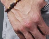 Men's Bracelet. Bead bracelet for men. Jewelry for men. Adjustable elastic bracelet. Jasper and Black CZ Pave Bead Bracelet