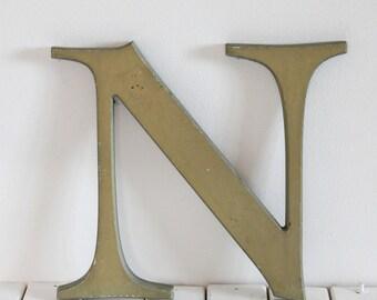 Vintage Letter N, Grey, vintage signage