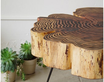 live edge coffee table - nimbus cloud table - natural edge urban salvage sequoia with midcentury modern hairpin legs - mod - urban wood