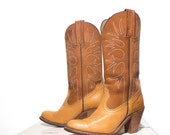 6.5 B | Women FRYE Cowboy Boots Brown Tanned Leather High Heel Western Boots