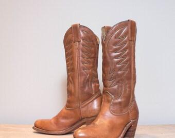 6.5 B   HH High Heel Western Boots in Honey Brown