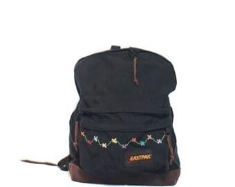 Vintage Eastpak Backpack Black w/ Floral Embroidery Leather Bottom Bookbag
