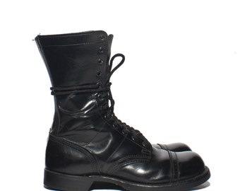 9 E | Vintage Jump Boots Black Leather Combat Boots with Leather Welt