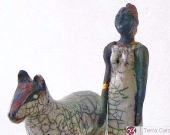 Raku sculpture - woman and animal