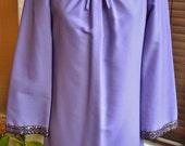 Pretty 1960s light purple mauve lilac dress braid trim mod dollybird go-go