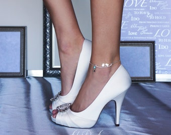 Something Blue Lovebirds Wedding Anklet for Bride