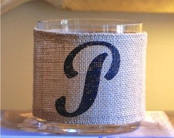 SALE! Custom Monogram Burlap Hurricane Vase