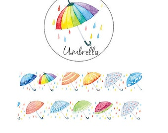 Colorful Umbrella Washi Tape (30mm X 7M)