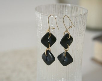Dangle Button earrings Square Diamond long black blue - Made with repurposed buttons