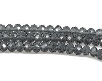 4mm MIDNIGHT BLUE GREY Rondelle Crystal Beads, Faceted Transparent Glass Crystal Beads, 145 beads, bgl1544