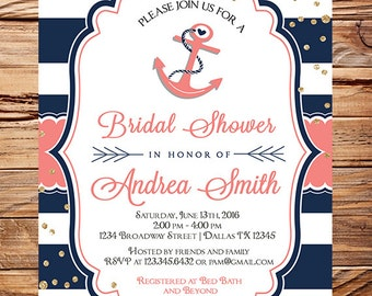 Nautical bridal shower invitations simple blue u white anchor best nautical bridal shower bridal shower coral navy anchor gold glitter with nautical bridal shower invitations filmwisefo