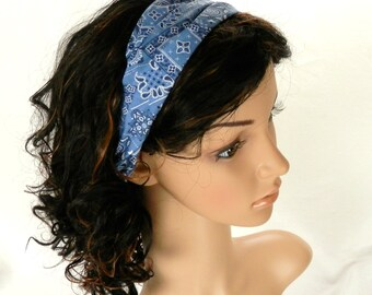 Western Headband / Light Denim Blue Headband / Blue Paisley Bandana Headband / Country Western Cowgirl Headband / Handmade  by Thimbledoodle