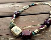 Savannah, ooak handrolled fiber bead necklace,semi precious, metallic and plastic beads