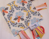 Sensory Ribbon Blanket,Lovey,Tag Blanket/Bee Sweet Morning/Organic Cotton Fleece
