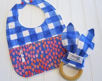 Newborn Gift Set/Infant Bib & Teether/Sommer/Organic Fleece Back