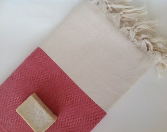 Elegant Organic Turkish Towel, Peshtemal, bath, spa, hammam, Natural Sof cotton, Gift for mother, mother's day, Handwoven, Red