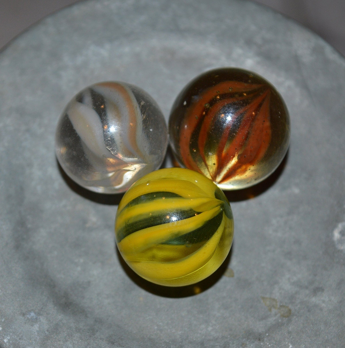 Vintage Caged Cat Eye Marbles Vitro Agates 3 Colors In