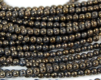 Jet Bronze Picasso 4mm round czech beads   - 100