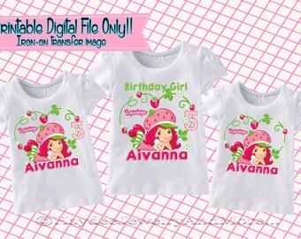 Strawberry Shortcake Girls Printable Iron On Transfer - Custom Personalized  Birthday T-Shirt Decal Design