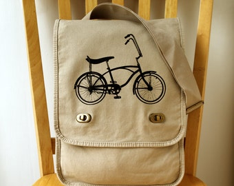 Vintage Bike Canvas Messenger Bag Schwinn Stingray Laptop Bag
