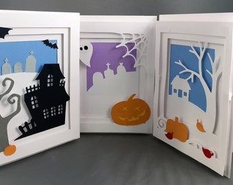 Halloween 3D Blank Pop Up Greeting Card Set, Holiday Card, Paper Cutout Card, Halloween Cards, Handmade Cards, Halloween Greetings