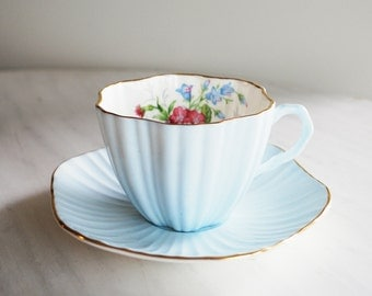 Foley vintage teacup and saucer / ice blue floral tea cup and saucer