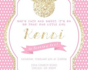 Gold Glitter Minnie Invitation