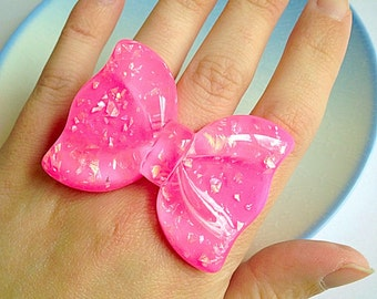 Sweet Lolita Bow - Pink, Bright, Cute, Resin, Shimmer, Sparkle, Glitter, Holographic, Statement