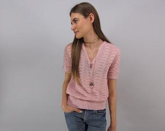 Vintage 70s Chevron Crochet Top, Boho Knit Top, Hippie, Boho, Bohemian Top Δ xs / sm