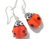 Ladybugs earrings glass lampwork bead  red / pink / green , silver earrings , handmade jewelry , artisan lampwork earrings , beaded earrings
