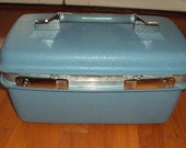 Vintage Shabby Chic Blue Train Case  Samsonite Hard Sided Travel  Carry On Luggage Storage