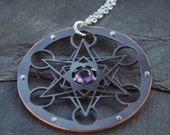 Large Metatron's Cube Pendant with Amethyst - double layer oxidised copper and sterling silver - Handcrafted Sacred Geometry Jewellery