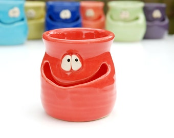 THE GRINNIN' IDGIT - cherry red - a Very Silly Egg Separator for the Cook Who Has Everything